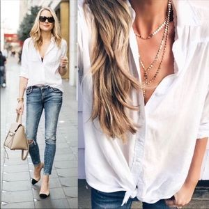 Tops - White button down polo shirt dressy tops